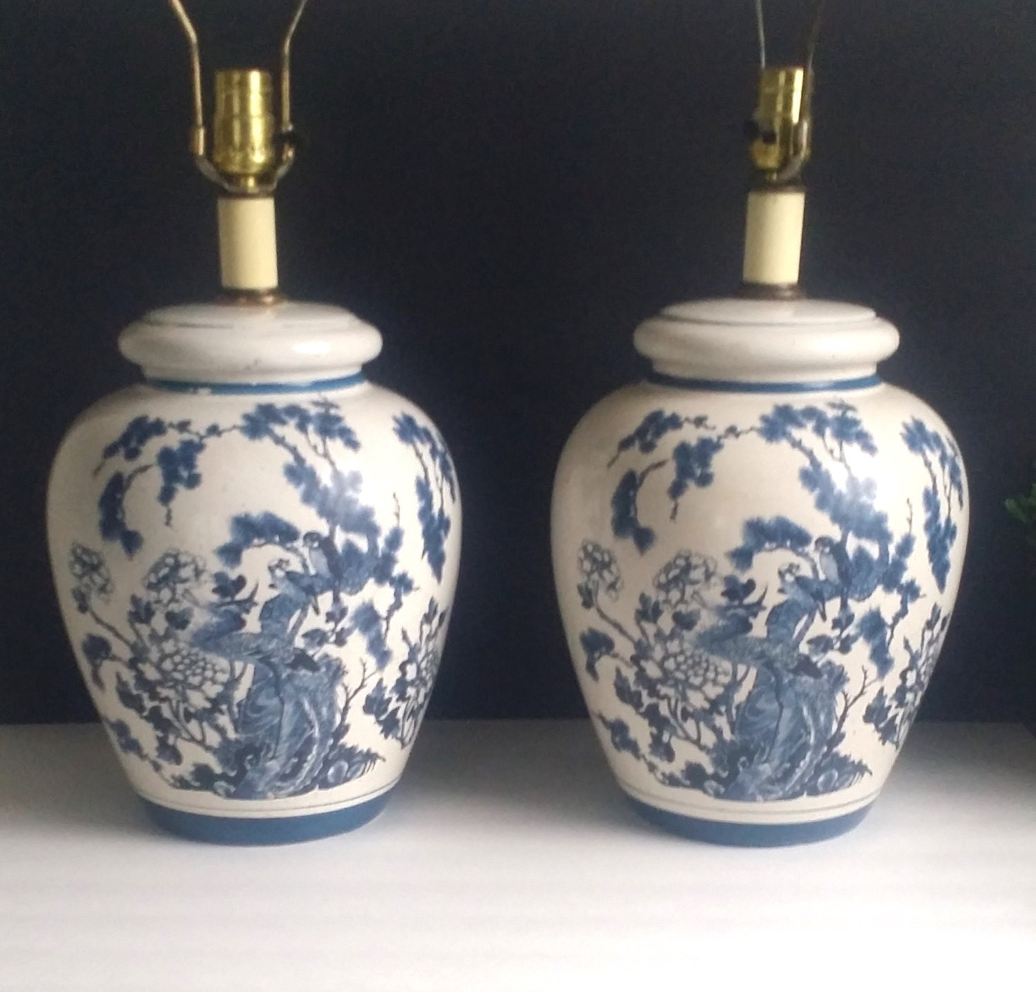 reserved blue and white ceramic lamp chinoiserie pair table. Black Bedroom Furniture Sets. Home Design Ideas
