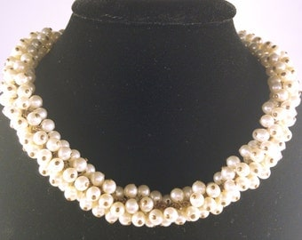 Vintage Pearl Collar Necklace - Caviar Faux Pearl Necklace -Large Pearl Choker Necklace - Vintage Wire Strung Faux Pearl Statement Necklace