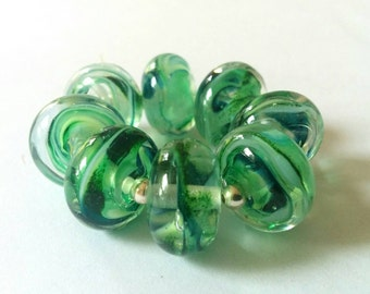 Emerald Green Spacers - Handmade Lampwork Beads - SRA - UK.