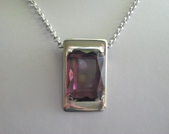 Purple Amethyst Rectangular Cut Faceted Pendant on Chain Necklace