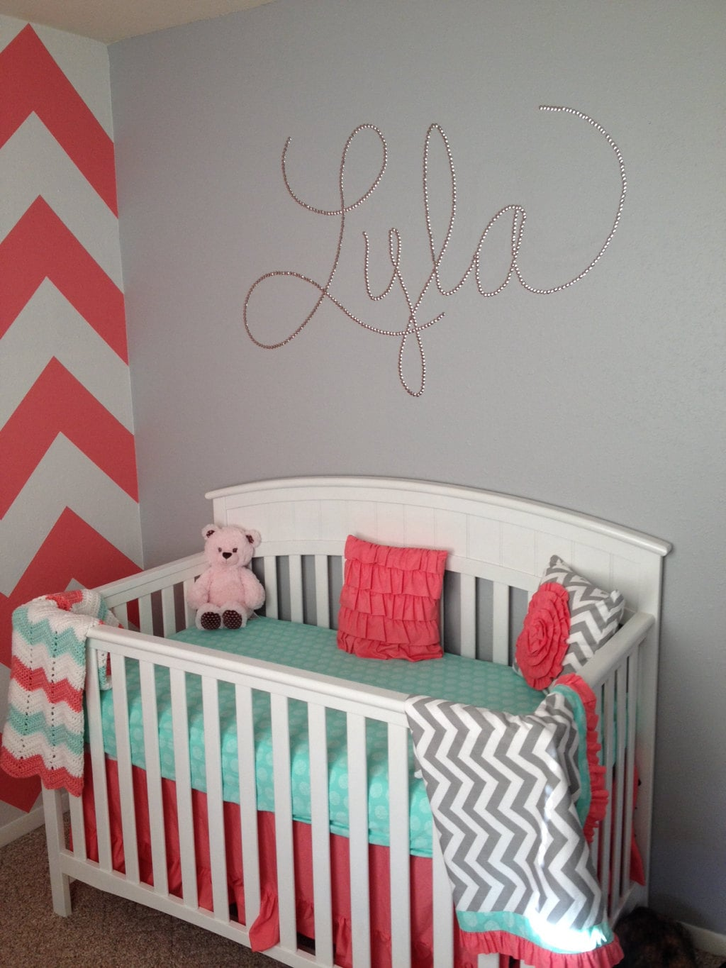 Coral Crib Bedding Chevron Baby Bedding Mint And By