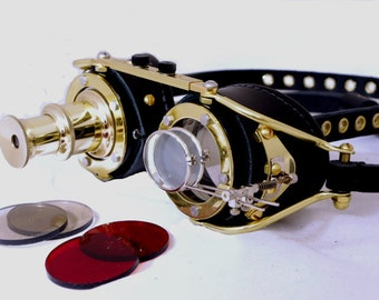 Steampunk Goggles Goth Theatrical Industrial Brass Telescopic Telescope Cosplay LARP All Black