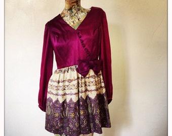 60s  Petite Purple Satin and Lame Dress            International Shipping