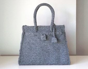 Grey crochet bag vintage style, handmade medium luxury purse