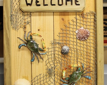 Blue Crab Nautical Decor - Handcrafted Wooden Sign w/ Lifelike Crabs