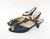 Free Shipping. 1960s Vintage Elmdale Heels US 8.5 EU 39, T Strap Summer Shoes, Slingback Open Toe Sandals