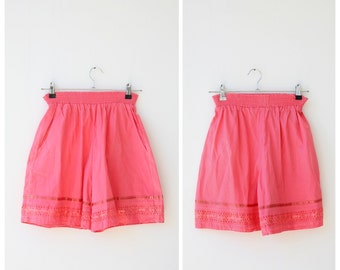 1990s vintage laces shorts s, pink coral shorts small