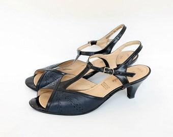 1960s Vintage Elmdale Heels US 8.5 EU 39, T Strap Summer Shoes, Slingback Open Toe Sandals