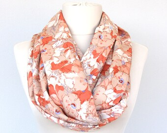 SANDY  Summer scarves infinity scarf beige scarf floral scarf vintage fabric scarf spring scarves ook item gift for her mothers day women