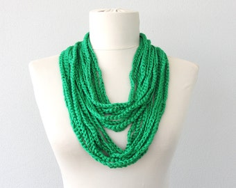 Grass green scarf necklace infinity crochet necklace layering necklace skinny scarf summer scarves women fashion accessories gift for her