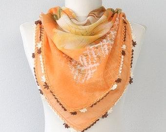 Crochet lace scarf Floral wrap Gauze fabric shawl Orange scarf Summer head wrap Square scarf Oya Turkish scarves Unique gift for women