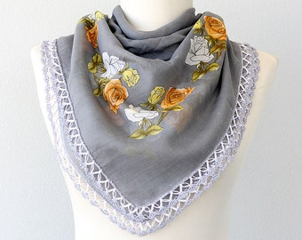 Cotton scarf Handmade lace shawl Gray grey summer scarf Cottage chic Boho Natural organic cotton head scarf Gift for mother grandmother