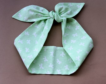 Mint headband cotton head wrap bow print headscarf pin up headband 50s retro headband pastel summer hair accessories adult headband women