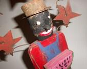 Patriotic Black Americana Folk Art Wooden Watermelon Man With Stars 10-1/2 Inches