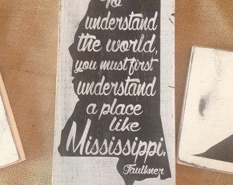 """Mississippi state board hand painted and distressed approx 14""""x 8"""""""