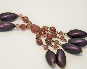 Vintage  necklace. Purple bead necklace. Tassel necklace