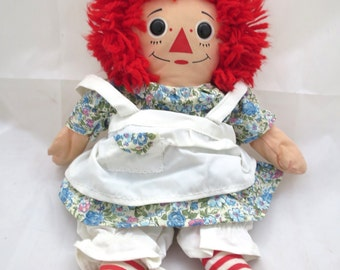 Vintage Raggedy Ann Doll Playskool 1987 12 inch Doll Flowered Dress Pinafore Bloomers Button Eyes I Love You Heart Hasbro Toy Nice Condition