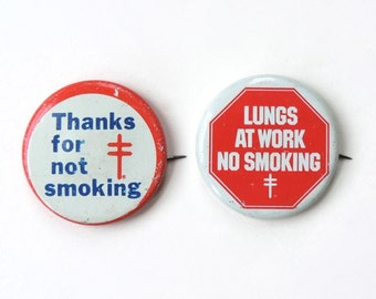 No Smoking Buttons Vintage American Lung Association Pair