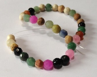 Faceted Multi Gemsone and Glass Beads - 6mm - 8 inch strand