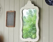 Charming Shabby White Antique Cottage Dresser Mirror