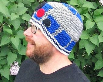 R2D2 Crochet Beanie Adult Size