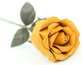 Yellow leather rose third Anniversary wedding gift Long Stem leather flower Valentine's Day 3rd Leather Anniversary Mother's Day Prom