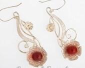 Carnelian Hook Earrings, FLOWERS 925 Sterling Silver Earrings, Gumush Jewelry, Valentines Day