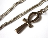 "Handmade Egyptian Ankh Necklace // Vintage 1950s 60's Chain and Ankh Pendant // Silver // 24"" Necklace"