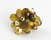 OUT OF TOWN - Golden Reflections - Beaded Cluster Adjustable Ring - Gold Champagne Mustard Yellow Tan Brown Big Chunky Cocktail Statement