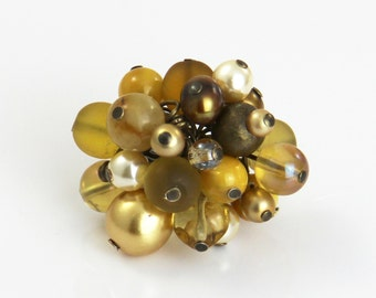 Golden Reflections - Beaded Cluster Adjustable Ring - Gold Champagne Mustard Yellow Tan Brown Big Chunky Cocktail Statement