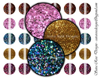 Digital Download Collage Sheet - 1 Inch Circles - Sparkly Glitter Themed Printable Images