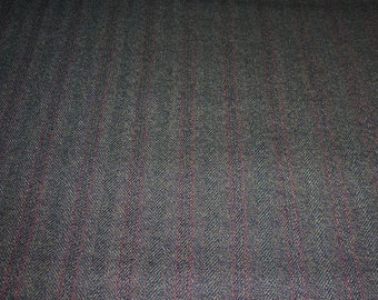 "Vintage Subtle Striping Wool Suiting Fabric Dark Green With Burgundy 60"" Wide 2 Yards Long"