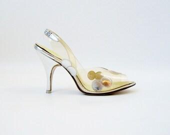 Vintage 1950s Shoes / Vintage Wedding Shoes / 50s Shoes / 1960s Shoes / Cinderella Shoes / Silver Shoes / Wedding Dress Heels / Peep Toe 7