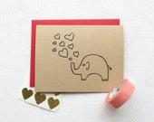 Big Love Elephant Card (Gocco printed)