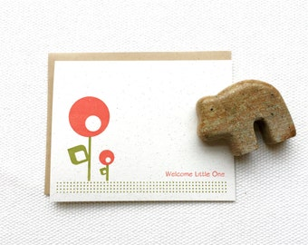 Welcome Little One Mod Flowers (Gocco Printed Card)
