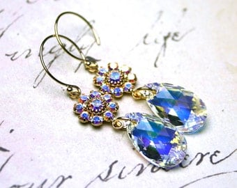 Swarovski Crystal Teardrop Earrings in Crystal AB - Gold and Crystal Earrings - 14K Gold Filled Earwires