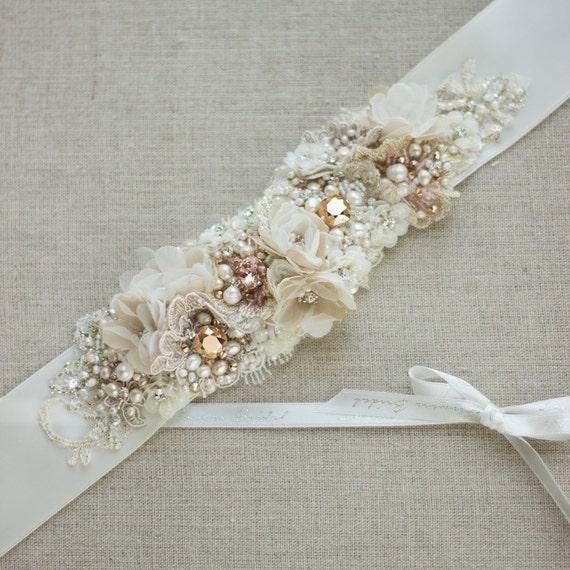 Rose gold belt sash wedding belt bridal belt wedding by for Gold belt for wedding dress