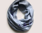Ombre Dyed Gray Scarf - Gray Linen Scarf - Traditional or Infinity Women Scarf - Organic Fabric Scarf - Linen Scarf for Spring - Gift Ideas