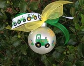 Green Tractor Ornament, Baby's First Christmas, Farm Equipment, Hand Painted Personalized Ornament, John Deere Tractor, Farming Ornament