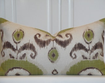 Decorative Pillow Cover - 12 x 22 - Throw Pillow - Accent Pillow - Green - Brown - Natural - IKAT