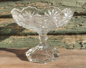 Vintage Glass Compote With Elegant Scallop Edge, Daisy and Diamond Design