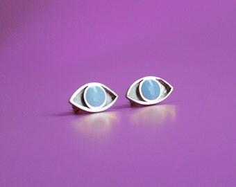 Cat's Eyes - Silver and Enamel Earrings