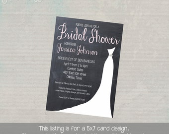 Bridal Shower Invitation with Wedding Dress Silhouette