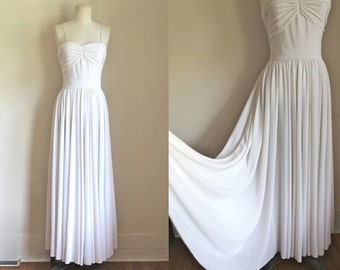 vintage 1970s wedding dress - OPULENT white maxi dress / XS-S
