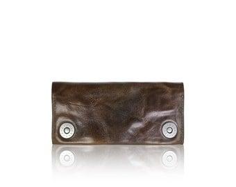 iPhone SLOWDESIGN leather wallet - - DARKBROWN