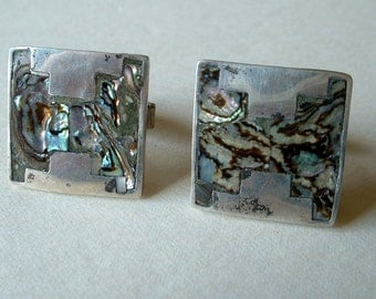Vintage Sterling Silver and Abalone Inlay Cufflinks 1940 Mexico Sterling
