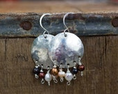 Pearl Earrings, Full Moon Earrings, Silver Moons, Gift for Mom