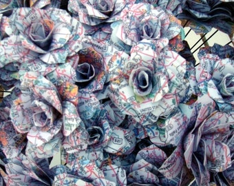 Map Page Paper Roses For the map Lover or Who  loves to Travel QTY of 5