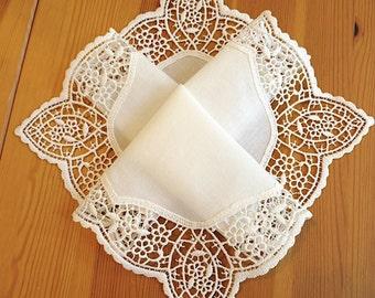 Bridal Accessories: Wedding Handkerchief, Cream Color German Plauen Lace Handkerchief Style No. 40934 with Classic 3-Initial Monogram