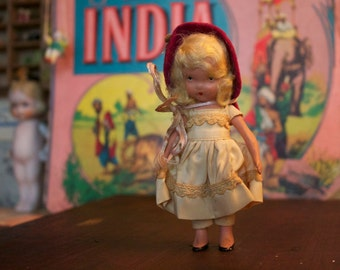 Vintage Nancy Ann doll, Nancy Ann Story Book Doll, Small Blonde Doll, 1940's Doll, Collectible Bisque doll, Games & Toys, Small Old Doll